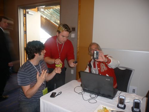 Jean Hebert teaching Peter Davies and Hendrik Beune of AHA MEDIA