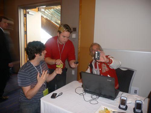 Jean Hebert teaching Peter Davies and Hendrik Beune of AHA MEDIA