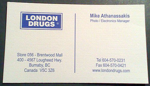 mike A business card