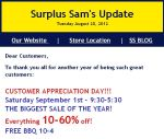 Surplus Sam Celebration