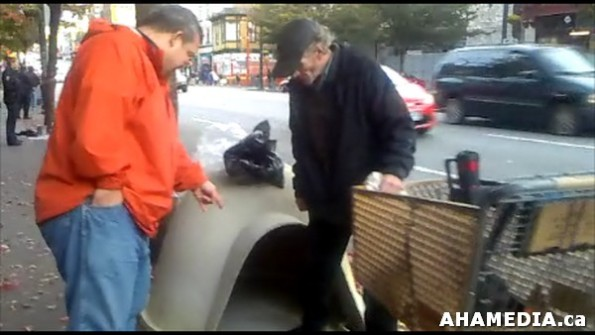 23 AHA MEDIA sees Roland Clarke with Pat's Dogloo on Bottle Block in Vancouver DTES