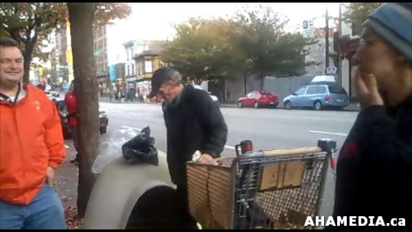 24 AHA MEDIA sees Roland Clarke with Pat's Dogloo on Bottle Block in Vancouver DTES