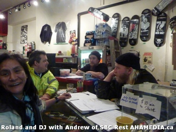 2 AHA MEDIA  sees Roland Clarke speak with Andrew of SBC Restaurant in Vancouver DTES