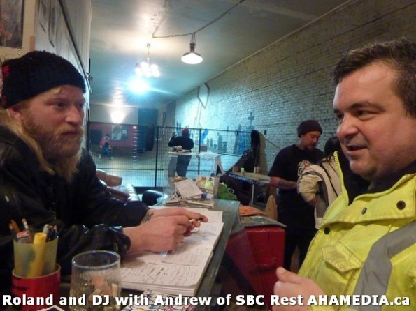 4 AHA MEDIA  sees Roland Clarke speak with Andrew of SBC Restaurant in Vancouver DTES