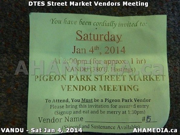 0 AHA MEDIA sees DTES Street Market Vendor Meeting on Sat Jan 4, 2014 in Vancouver