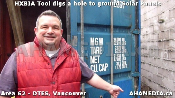 0 AHA MEDIA sees Roland Clarke and Richard of HXBIA Tool dig a hole to ground Solar Panels in Vancouv