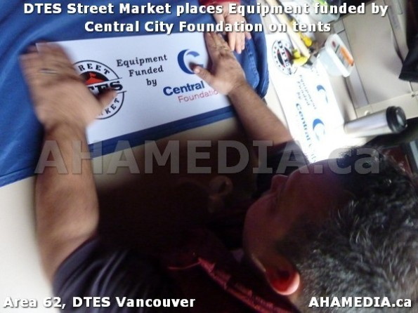 1 AHA MEDIA sees DTES Street Market place Sponsorship by Central City Foundation on Tents