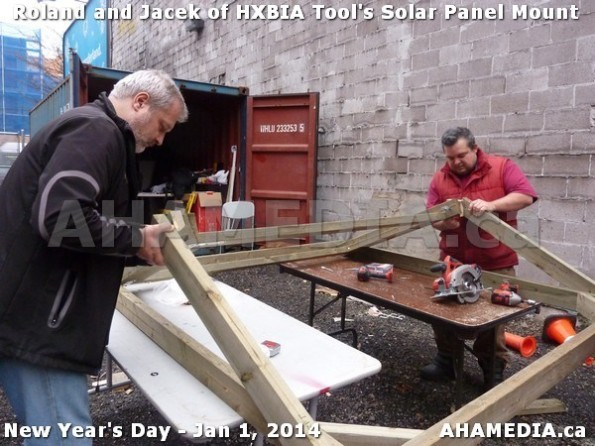 136 AHA MEDIA sees HXBIA Tool test fit solar panel mount on New Year Day Jan 1, 2014