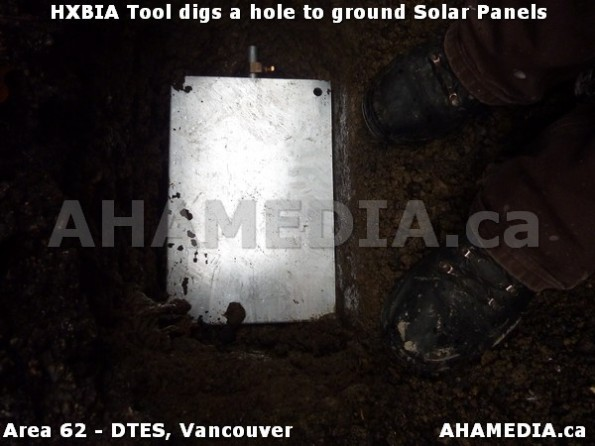 4 AHA MEDIA sees Roland Clarke and Richard of HXBIA Tool dig a hole to ground Solar Panels in Vancouv