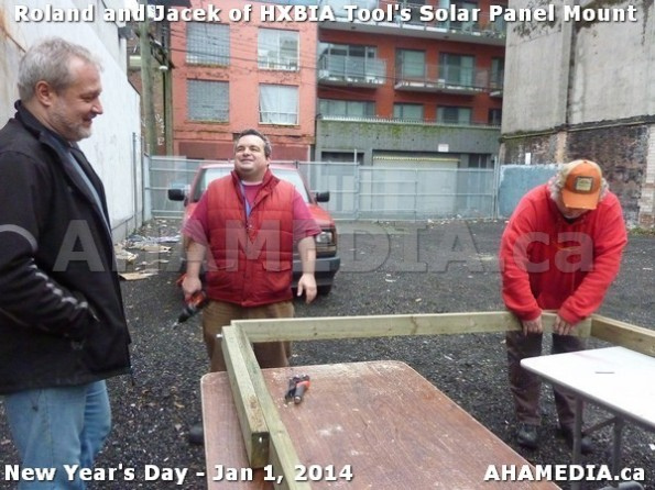 61 AHA MEDIA sees HXBIA Tool test fit solar panel mount on New Year Day Jan 1, 2014