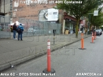 2 AHA MEDIA sees Truck drop off 40ft Storage Container for DTES Street Market in Vancouver
