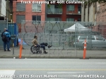 6 AHA MEDIA sees Truck drop off 40ft Storage Container for DTES Street Market in Vancouver