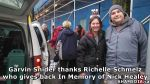 8 Garvin Snider thanks Richelle Schmelz who gives back In Memory of Nick Healey