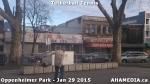 7 AHA MEDIA sees man playing tetherball tennis in Oppenheimer Park in Vancouver DTES