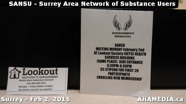1 AHA MEDIA at SANSU - Surrey Area Network of Substance Users Meeting on Feb 2, 2015