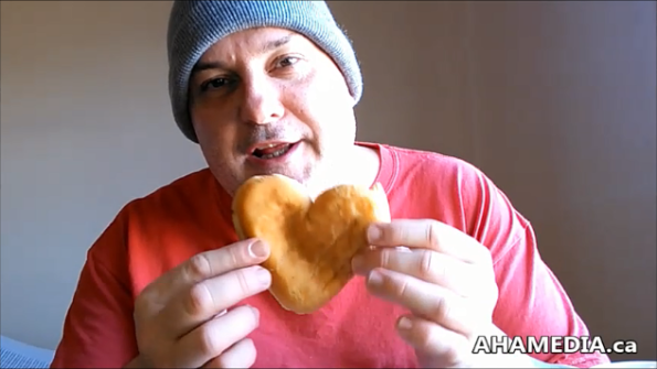 Garvin Snider of AHA MEDIA on Heart Shaped Jelly Doughnut for Valentine's Day 2015 in Vancouver DTES 1 (4)