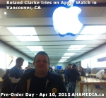 1 Roland Clarke tries on Apple Watch in Vancouver Canada on April 10, 2015