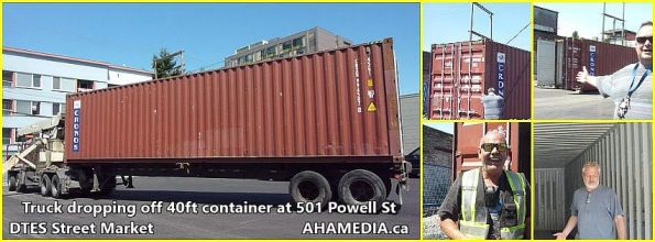 0 truck dropping of container at 501 Powell St