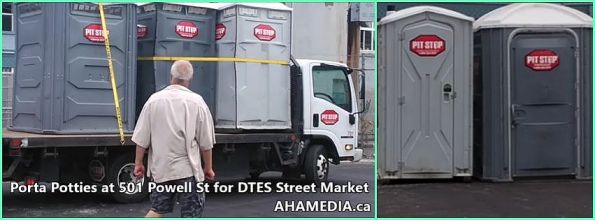 Porta Potties at 501 Powell St for DTES Street Market in Vancouver