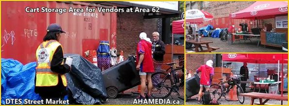 0 Cart Storage area for Vendors at Area 62 - DTES Street Market in Vancouver