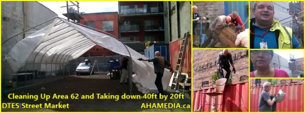 0 Cleaning Up Area 62 and Taking down 40ft Tent for DTES Street Market in Vancouver on Sept 15 2015