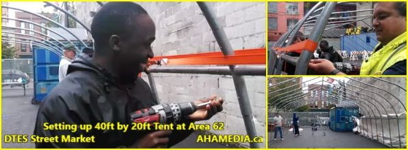 0 Setting up 40ft Tent at Area 62 for DTES Street Market on Sept 18 2015