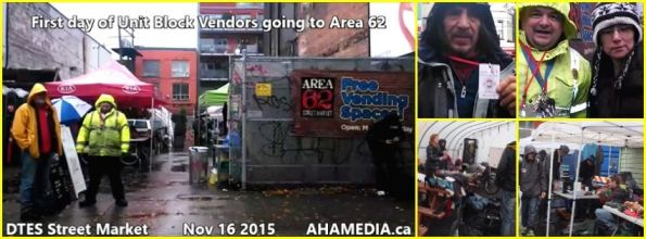0 AHA MEDIA sees First Day of Unit Block Vendors going to Area 62 DTES Street Market on Nov 16 2015 in Vancouver