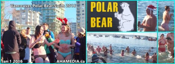 0 AHA MEDIA at 2016 Vancouver Polar Bear Swim in English Bay on Jan 1 2016