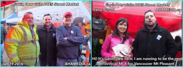 0 AHA MEDIA sees Gavin Dew, BC Liberals Provincial MLA Candidate for Vancouver Mt Pleasant  at DTES Street Market in Vancouver on Jan 19 2016